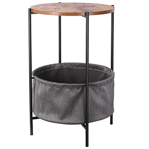 HOMFA Vintage Round Side Table with Storage Basket Industrial Coffee Table Night Stand Wood Look Accent Furniture with Metal Frame