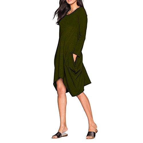 Bodycon4u Ourlet Mouchoir Femme Flowy Tunique Lâche Tête Poche T-shirt Vert De L'armée Robe