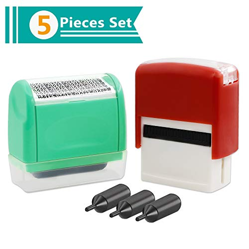 Identity Theft Protection Roller Stamp(Unlimited Re-Inking) for ID Security Prevention, 2 Piece Set with 3 Refills Inks ()