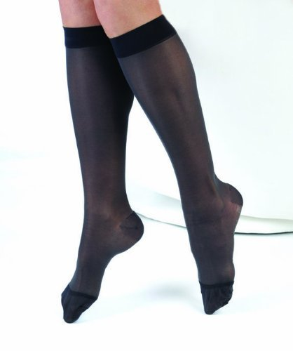 EvoNation Women's USA Made Sheer Graduated Compression Socks 20-30 mmHg Firm Pressure Medical Quality Knee High Support Stockings Hose - Circulation Travel (Large, Black)