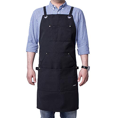 Life Flavor Heavy Duty Canvas Work Apron,Tool Pockets, Back Straps Adjustable(black)