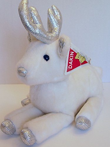 DAKIN Vintage 1988 Plush White and Silver Holiday Elegance Reindeer 13 Inches Long ()
