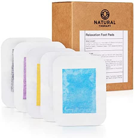 NATURAL THERAPY FOOT PADS   Feet Patches I Relax Cleanse Improve Sleep and Relieve Stress   FDA Certified I 5 Premium Organic Aromas Ginger, Mint, Lavender, Charcoal and Coconut