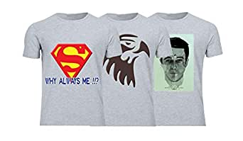 Geek ET1796 Set Of 3 T-Shirt For Men-Grey, Small