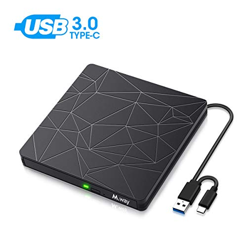 External DVD Drive, M WAY USB 3.0 External CD Player, Portable USB C DVD CD RW Optical Drive, DVD CD ROM USB Burner Writer, for Laptop PC Mac MacBook Pro Air OS Windows 7 8 10 Linux