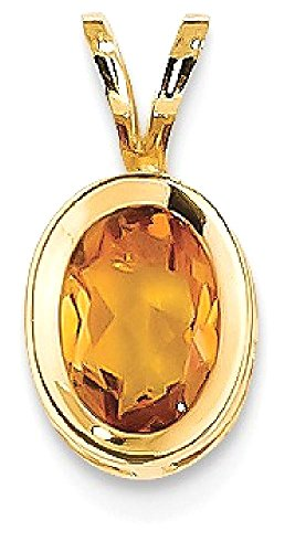ICE CARATS 14k Yellow Gold 7x5mm Oval Citrine Bezel Pendant Charm Necklace Gemstone Fine Jewelry Gift Valentine Day Set For Women Heart Oval Citrine Bezel