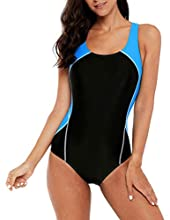 beautyin Sports Swimsuits for Women Chlorine Resistant One Piece Bathing Suit L