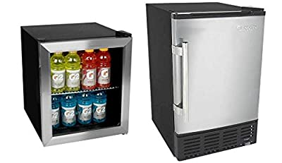 Edgestar 62 Can Extreme Cool Beverage Cooler and 12lb Built in Ice Maker - Stainless Steel
