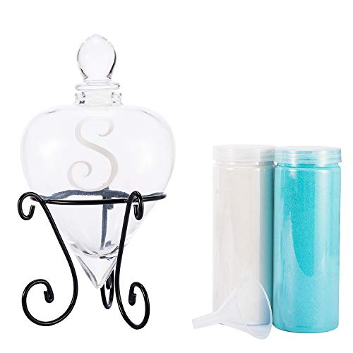(AF ANDREW FAMILY Monogrammed Etched Wedding Glass Heart Shaped Unity Set with Metal Stand-Initial S White and Blue Sand Included)