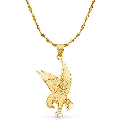 14K Yellow Gold Eagle Charm Pendant with 1.8mm Singapore Chain Necklace - 18