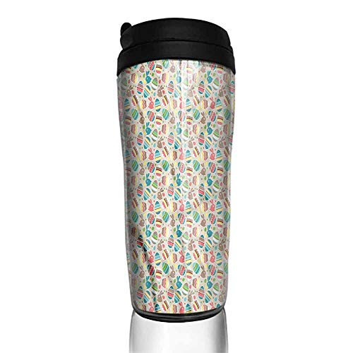 coffee cups warmer Easter,Cartoon Bunnies Dots 12 oz,cup for coffee keep hot ()