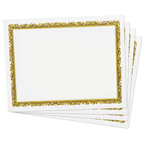 - Gold Foil Certificate Paper (48 Pack) for Awards Diplomas, Printer Friendly 8.5 x 11 Inches