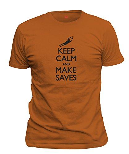 ShirtLoco Men's Keep Calm And Make Saves Soccer T-Shirt, Texas Orange Extra Large
