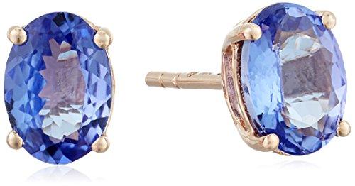 10k Rose Gold Tanzanite Oval Stud Earrings