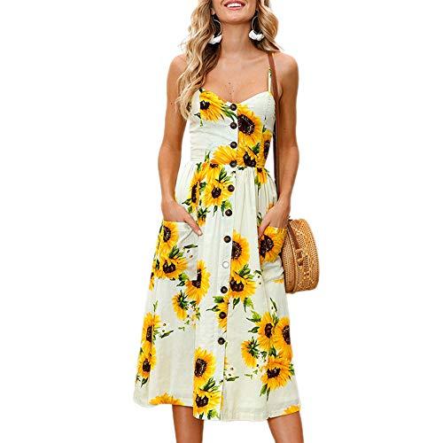 Bibowa Juniors Dresses Spaghetti Strap with Pockets - Casual Summer Flare Sunflower Printed Boho Striped Knit New Tea Dress Yellow S ()