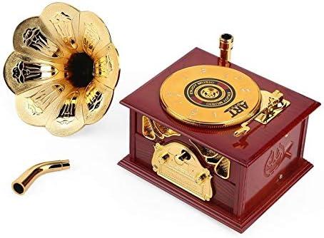 Pudincoco gramófono en Forma de Caja de música clásico Vintage Regalo de cumpleaños manivela Tipo Caja de música Movimiento DIY romántica (Madera): Amazon.es: Hogar