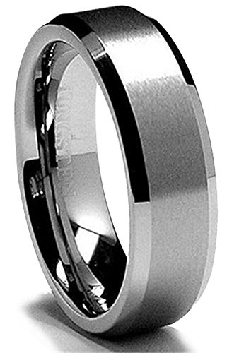 King Will 6MM Wedding Band For Men Tungsten Carbide Engagement Ring Comfort Fit Beveled Edges (Tungsten Carbide Beveled)
