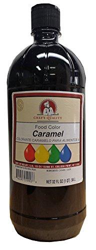 Chefs Quality Liquid Caramel Food Color 32 Oz Plastic Bottle