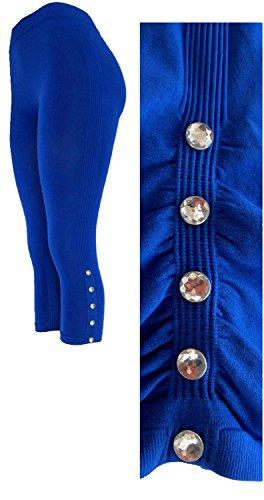 Capri Blue Rhinestone (J.Ann Womens Fashion Seamless Capri with Rhinestone Bottons Leggings-Strechable, Royal Blue)