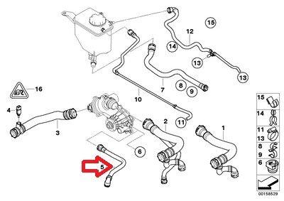 for 550i 550i 650i 650i 650i 650i E60 E60N E63 E63N E64 E64N Return Hose BMW Genuine Water Hose From Water Pump