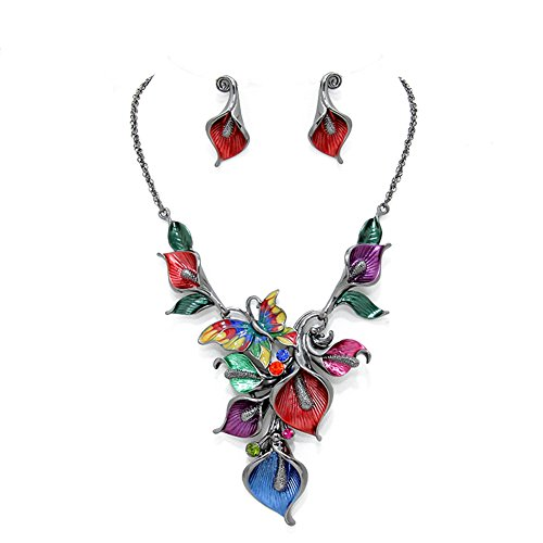 """Butterfly and Flowers Multi-Colored Enameled Statement Necklace, 16"""" Long Plus 3"""" Extender, with Earrings ()"""