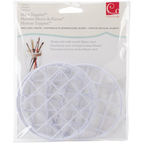 (Cosmo Cricket Show Toppers Grid Lid Inserts, Pack of 3, White , COS-STP-68281)