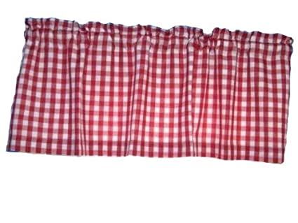 Sensational Handmade Lined Red White 1 4 Square Gingham Checked Window Curtain Valance Download Free Architecture Designs Grimeyleaguecom