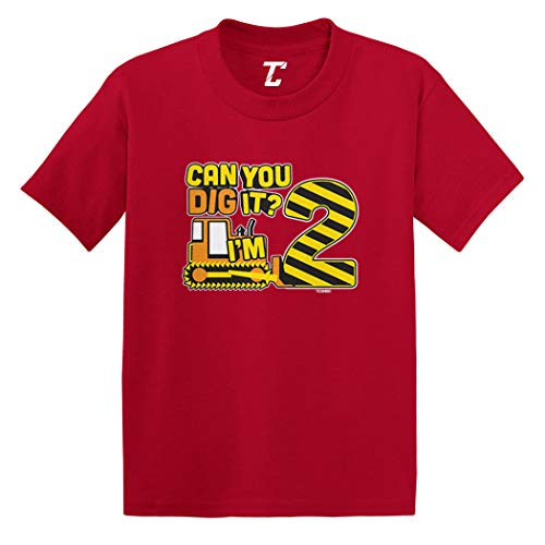 (Can You Dig It? I'm 2 - Two Year Old Infant/Toddler Cotton Jersey T-Shirt (Red,)