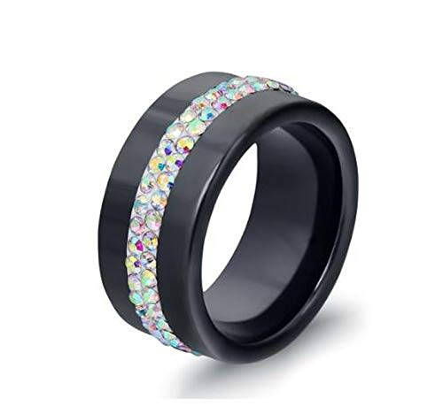 DLNCTD New 10MM Black and White 2 Row Crystal Ceramic Ring Women Engagement Promise Wedding Band Gifts for Women,6,from