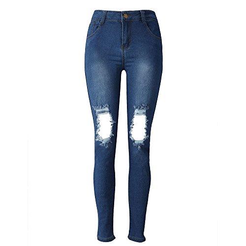 Beautyjourney Jean Grande Taille Femme??Overdose Pantalon Femme Sarouel Pantalon Jean Dechire Femme Denim Skinny Jeans Pantalon Stretch Crayon Pantalons Slim Long Bleu