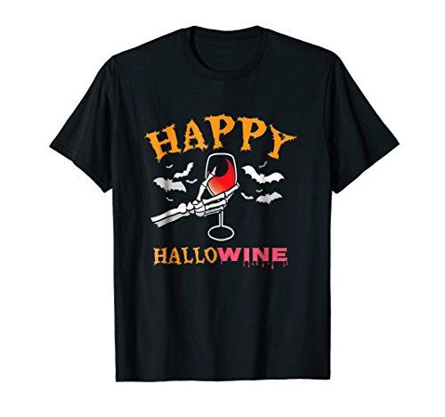 Happy Hallowine T-Shirt Halloween Hallow Wine Lover -