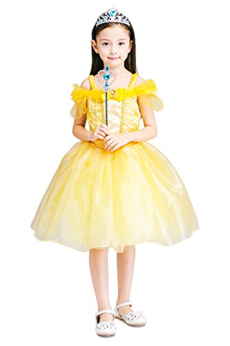 [YMING Girls Beauty and Beast Belle Costume Golden Halloween Cosplay Dress 4-5 Years] (Toddler Vampire Halloween Costumes)