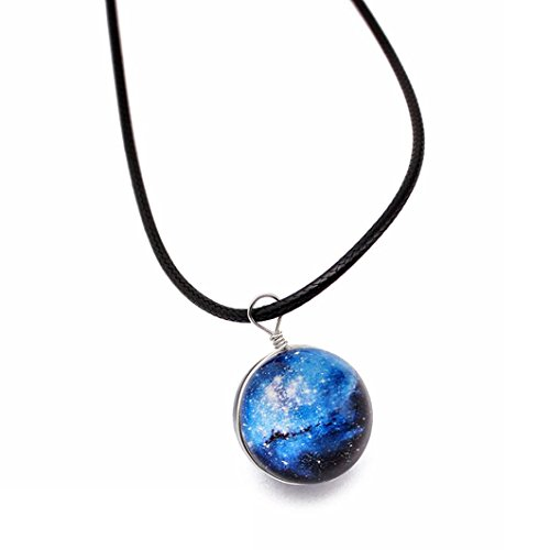(YJYdada Retro Galaxy Glass Ball Pendant Necklace Glow in the dark Star Universe Choker (D))