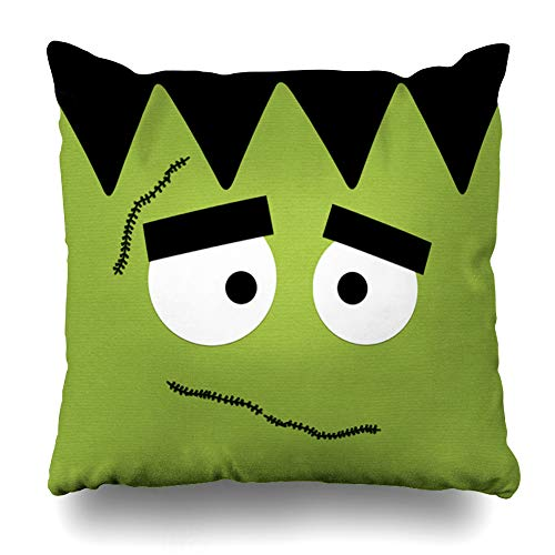Ahawoso Throw Pillow Covers Funny Frankenstein Face for Halloween Pillowslip Square Size 20 x 20 Inches Cushion Cases Pillowcases -