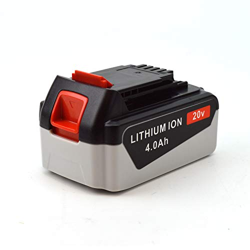 GJTr Back and Decker 20v 4.0Ah Lithium Battery LB2X4020 - High Capacity Max for BLACK+DECKER hedge trimmer charger ion drill Cordless Power Tools LBXR20 LBXR20-OPE LB20 LBX20 LB2X4020 LB2X4020-OPE