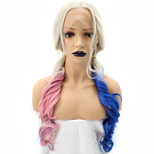 Price comparison product image Anogol Hair Cap+Blonde Lace Front Wig Synthetic Hair Pink Mix Blue 3 Tones Long Wavy Wigs For Fancy Dress