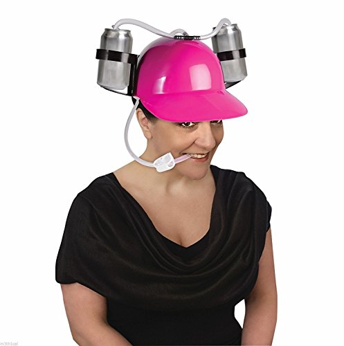 [Forum Novelties 74738 Helmet-Neon Pink-Drinking Pink Drinking Hard Hat Cool Unique Party Game Beer Soda Dual Can Straw] (Beer Drinking Hat)