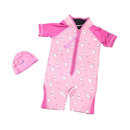 SwimFly Kids Wetsuit Neoprene/Lycra Shorty with lycra swim cap, for Swim Surf Snorkel (Pink- Bunny, XXS, 6-12 mths)