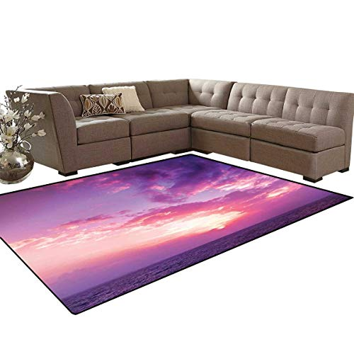 Sky Decor Bath Mat 3D Digital Printing Mat Sunset Pink Sky View Coloring The Sky and Clouds Romance Themed Image Extra Large Area Rug 6'6