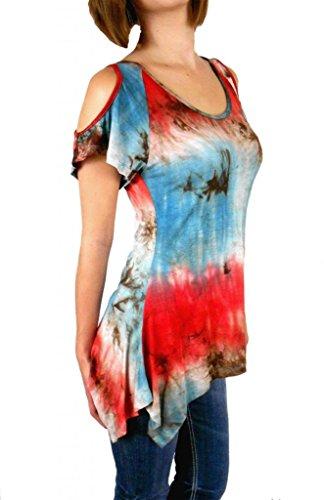 Sugar Rock Women Bohemian Tunic Shirt Tie Dye Asymmetric Hem S/s in Red