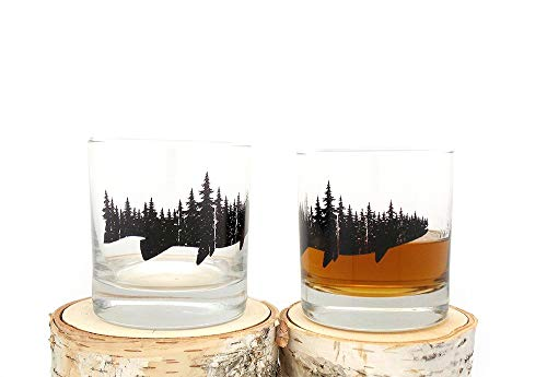 Whiskey Glasses - Fish and Forest - Set of Two 10.5oz Tumblers -