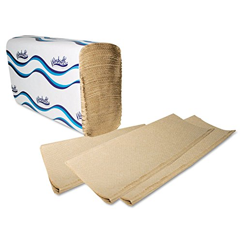 Windsoft 1040 Multifold Paper Towels, 1-Ply, 9 1/5 x 9 2/5, Natural, 250 per Pack (Case of 16) ()