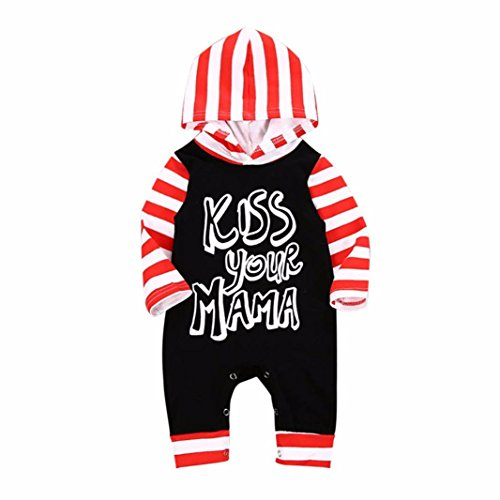 Forthery Outfit Set, Forther Baby Boys Letter Striped Hooded Jumpsuit Romper Outfits (12-18Months, Black)