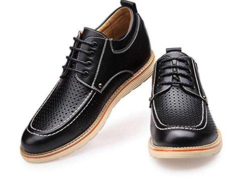 DHFUD Chaussures Hautes pour Hommes Chaussures en Cuir Creux Chaussures Occasionnels Chaussures Respirantes pour Hommes Black yBFQtE7epj