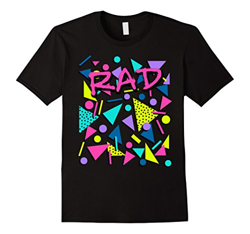 Mens Rad 80s Throwback T-Shirt Large Black (Tee 80s)