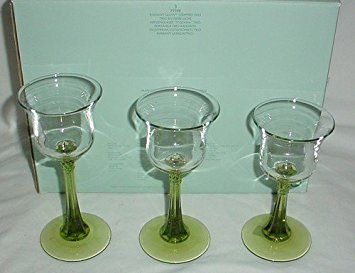 (Partylite Radiant Glow Stemmed Trio Votive Tealight Candle Holder Set P7998)