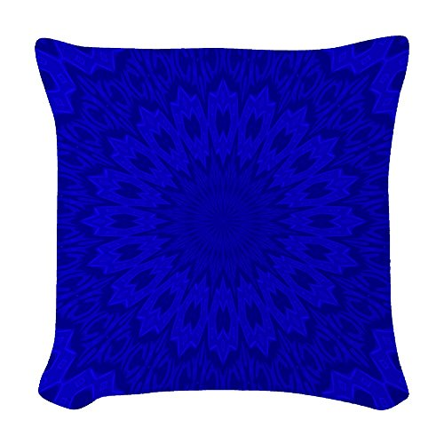 CafePress - Cobalt Blue Floral Kaleidoscope - Woven Throw Pi