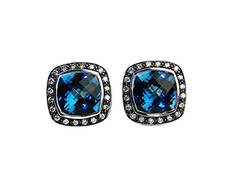 David Yurman Albion Earrings with Hampton Blue Topaz and Diamonds - Blue-Silver #4