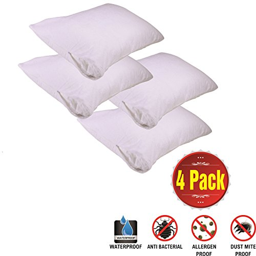4 Pack King Pillow Protectors 100% Waterproof Zippered Cotton White Terry Bed Bug Proof Pillow Encasement Anti Allergy Bacterial Dust Mite Washable Long Life Soft Non Pvc Breathable Fabric Set
