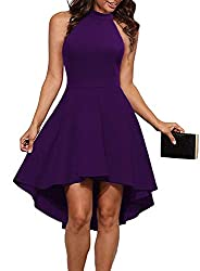 Mushare Women S Halter Neck High Low Backless Party Cocktail Skater Dress Purple